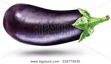 Aubergine or eggplant isolated on white background. File contains clipping path.