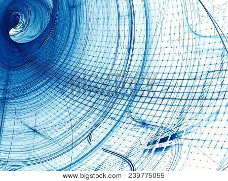 Blue And White Background - Wavy Grid. Abstract Computer-generated Image. Fractal Art: Unusual Tunne