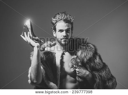 Drag queen, homosexual and trans. Freak, gay and transvestite. Cinderella prince with shoe on grey background. Freedom and lgbt, kitsch. Christmas guy in santa fur coat in crown. poster