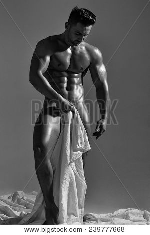 Handsome Nude Man Or Muscular Bodybuilder, Macho, With Sexy, Muscle Torso, Body, With Six Packs And