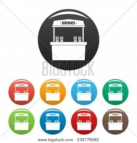 Drinks Selling Icon. Simple Illustration Of Drinks Selling Vector Icons Set Color Isolated On White