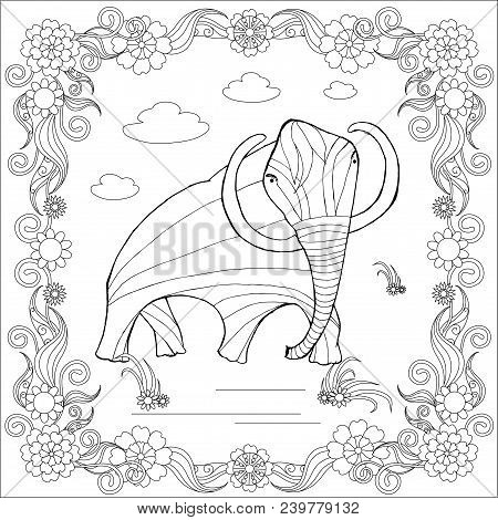 Monochrome Sketch Mammoth In Floral Frame, Coloring Page Antistress Stock Vector Illustration For Pr