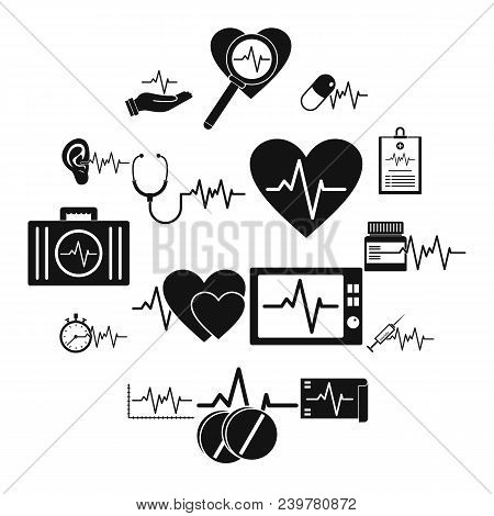 Heart Pulse Beat Icons Set. Simple Illustration Of 25 Heart Pulse Beat Vector Icons For Web
