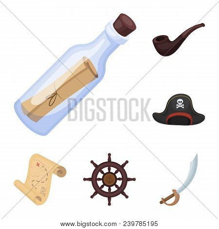 Pirate, Sea Robber Cartoon Icons In Set Collection For Design. Treasures, Attributes Vector Symbol S