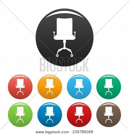 Leather Chair Icon. Simple Illustration Of Leather Chair Vector Icons Set Color Isolated On White