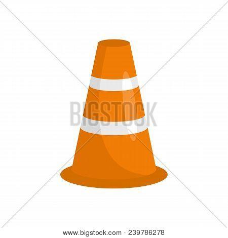 Caution Cone Icon. Flat Illustration Of Caution Cone Vector Icon For Web