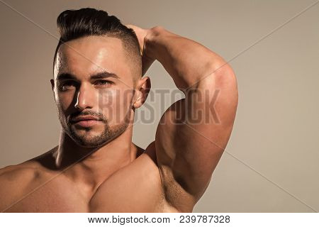 Coach Sportsman With Bare Chest. Sport And Workout. Dieting And Fitness. Man With Muscular Body And