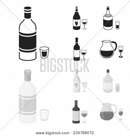 White Wine, Red Wine, Gin, Sangria.alcohol Set Collection Icons In Black, Monochrom Style Vector Sym
