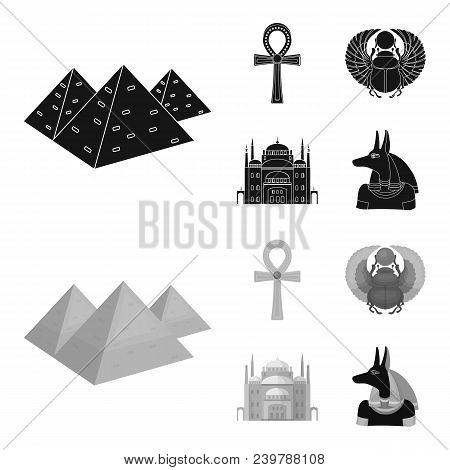 Anubis, Ankh, Cairo Citadel, Egyptian Beetle.ancient Egypt Set Collection Icons In Black, Monochrom