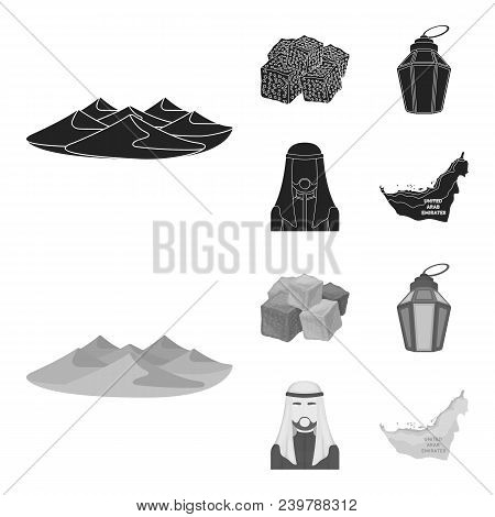 Eastern Sweets, Ramadan Lamp, Arab Sheikh, Territory.arab Emirates Set Collection Icons In Black, Mo