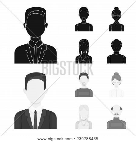 A Man With A Beard, A Businesswoman, A Pigtail Girl, A Bald Man With A Mustache.avatar Set Collectio