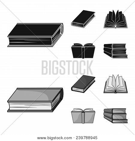 Various Kinds Of Books. Books Set Collection Icons In Black, Monochrom Style Vector Symbol Stock Ill