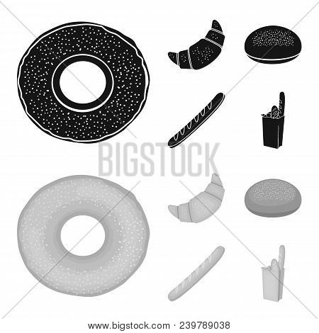 Rye Round Bread, A Croissant, A French Loaf, A Bag Of Bread.bread Set Collection Icons In Black, Mon