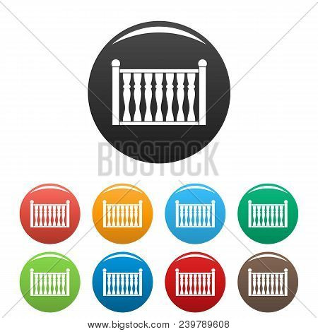 Fence With Column Icon. Simple Illustration Of Fence With Column Vector Icons Set Color Isolated On