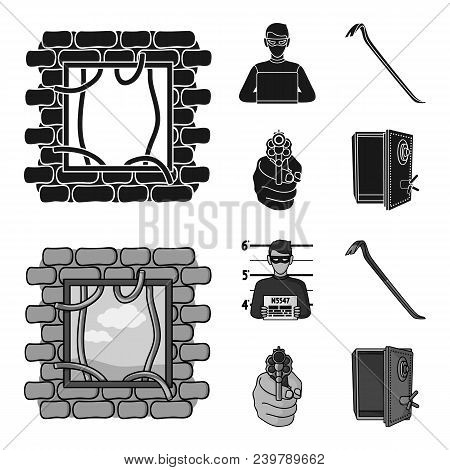 Photo Of Criminal, Scrap, Open Safe, Directional Gun.crime Set Collection Icons In Black, Monochrom