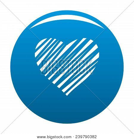 Shaded Heart Icon. Simple Illustration Of Shaded Heart Vector Icon For Any Design Blue