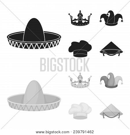 Crown, Jester Cap, Cook, Cone. Hats Set Collection Icons In Black, Monochrom Style Vector Symbol Sto