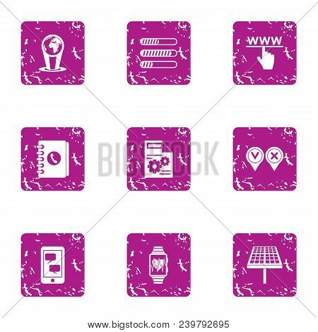 Council Via Web Icons Set. Grunge Set Of 9 Council Via Web Vector Icons For Web Isolated On White Ba