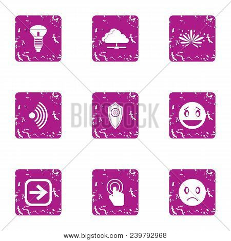 Intelligent Home Icons Set. Grunge Set Of 9 Intelligent Home Vector Icons For Web Isolated On White