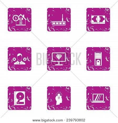 Trading Operation Icons Set. Grunge Set Of 9 Trading Operation Vector Icons For Web Isolated On Whit