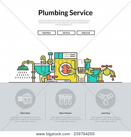One Page Layout For Plumbing Service Web Site. Different Plumber And House Repair Services. Hero Ill
