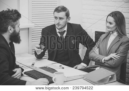 Business Partners, Businessmen At Meeting, Office Background. Business Crediting And Investing Conce