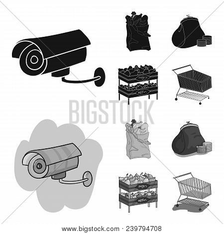 Sausages, Fruit, Cart .supermarket Set Collection Icons In Black, Monochrom Style Vector Symbol Stoc