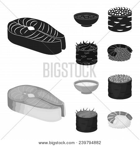 Bowl Of Soup, Caviar, Shrimp With Rice. Sushi Set Collection Icons In Black, Monochrom Style Vector