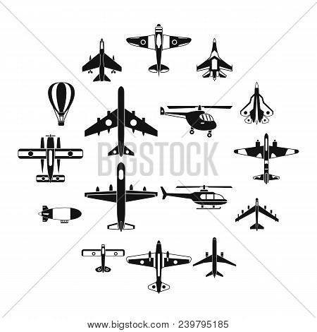 Aviation Icons Set. Simple Illustration Of 16 Aviation Vector Icons For Web
