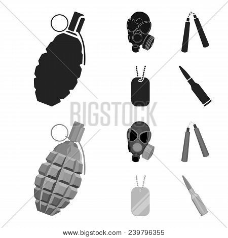Gas Mask, Nunchak, Ammunition, Soldier Token. Weapons Set Collection Icons In Black, Monochrom Style
