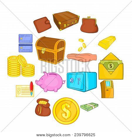 Finance Icons In Cartoon Style. Money Set Collection Isolated Vector Illustration
