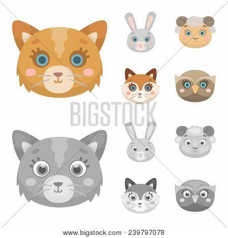 Cat, Rabbit, Fox, Sheep. Animal Muzzle Set Collection Icons In Cartoon, Monochrome Style Vector Symb
