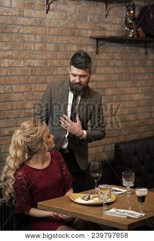 Meet, Proposal And Anniversary. Valentines Day With Sexy Woman And Bearded Man. Couple In Love Meet