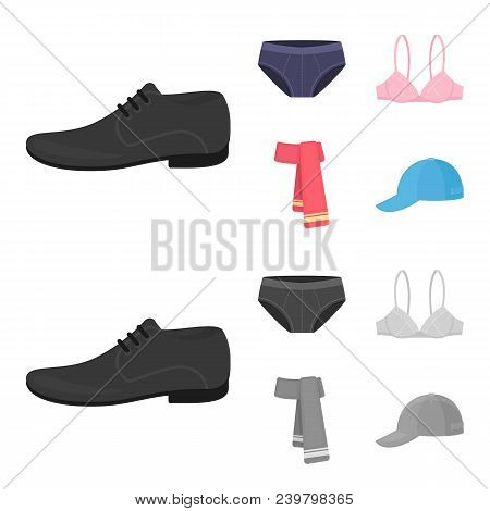 Male Shoes, Bra, Panties, Scarf, Leather. Clothing Set Collection Icons In Cartoon, Monochrome Style