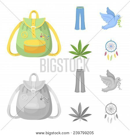 A Cannabis Leaf, A Dove, Jeans, A Backpack.hippy Set Collection Icons In Cartoon, Monochrome Style V