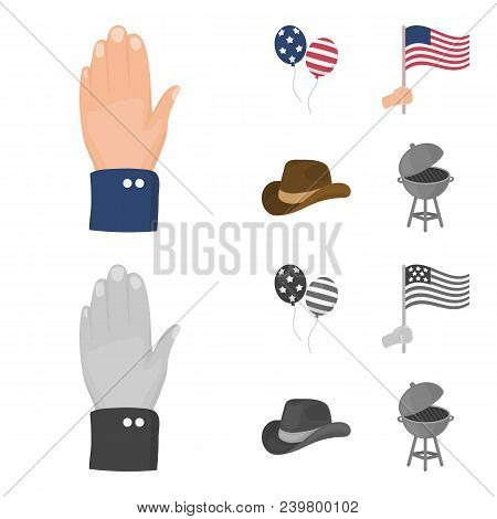 Balloons, National Flag, Cowboy Hat, Palm Hand.patriot Day Set Collection Icons In Cartoon, Monochro