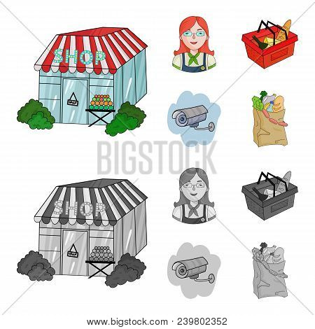 Salesman, Woman, Basket, Plastic .supermarket Set Collection Icons In Cartoon, Monochrome Style Vect