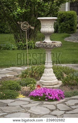 Garden Centerpiece, Tall Foutain With Nicely Landscaped Yard