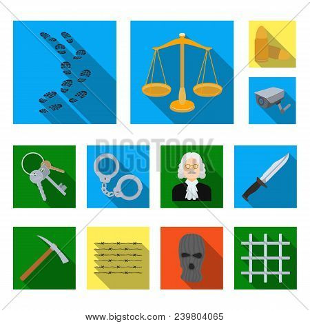 Prison And The Criminal Flat Icons In Set Collection For Design.prison And Attributes Vector Symbol