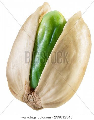 Green pistachio nut with pistachio shell. File contains clipping path.