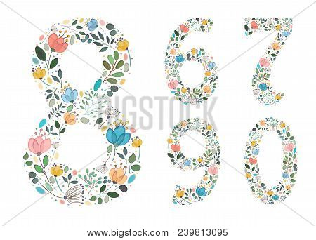 Set Of Floral Numerals. Graceful Watercolor Flowers And Plants. Painting Blurs And Spray. Six, Seven