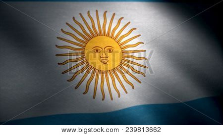 Realistic Cotton Flag Of Argentina As A Background. The Argentinian Flag Waving In The Wind. The Arg