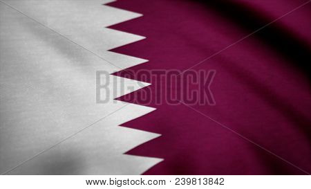 Flag Of Qatar. Beautiful 3d Animation Of Qatar Flag In Loop Mode. Flag Of Qatar Background Seamless