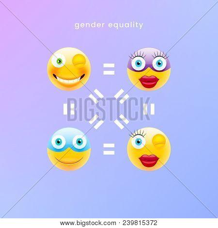 Emoji Art. Vector Illustration Of Gender Equality Concept. Emoji Language Equality Illustration. Bus