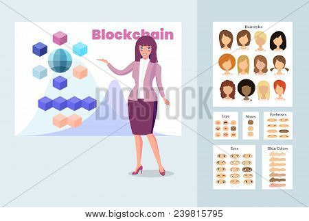 Stylish Business Woman Talking About Blockchain Technology. Presentation Of A New Blockchain Project