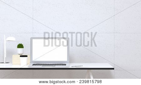Mock Up Interior Computer Notebook Decoration Office Desk And Object 3d Illustration In Front Of Cle