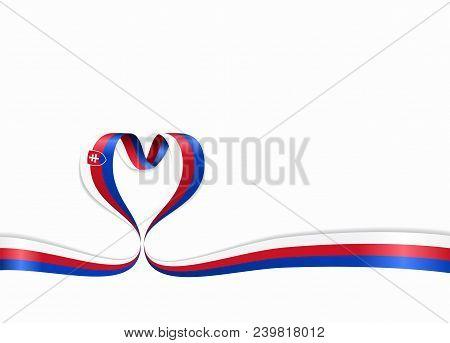 Slovak Flag Heart-shaped Wavy Ribbon. Vector Illustration.