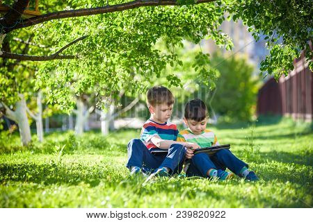 Two Brother Kid Is Lying On The Grass With Tablet.