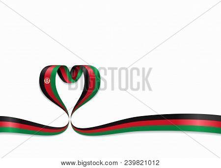 Afghanistan Flag Heart-shaped Wavy Ribbon. Vector Illustration.