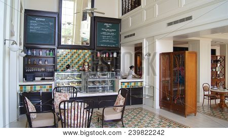 Pulau Langkawi, Malaysia - Apr 4th 2015: Architecture Of Historic British Colonial Restaurant At A L